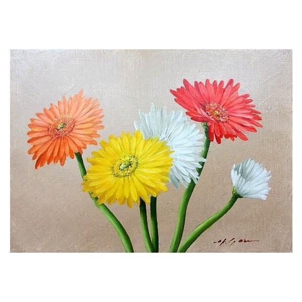 絵画 油絵 肉筆絵画 壁掛け ( 油絵額縁 アートフレーム付きで納品対応可 ) M8号サイズ 「ガーベラ」 安田 英明