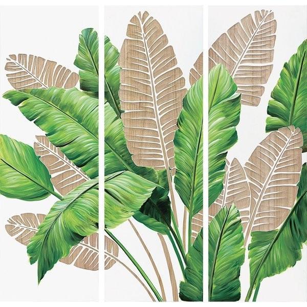 インテリア アート 壁掛け ウッド ウッド スカルプチャー アート「バナナ リーブス(3枚セット)」