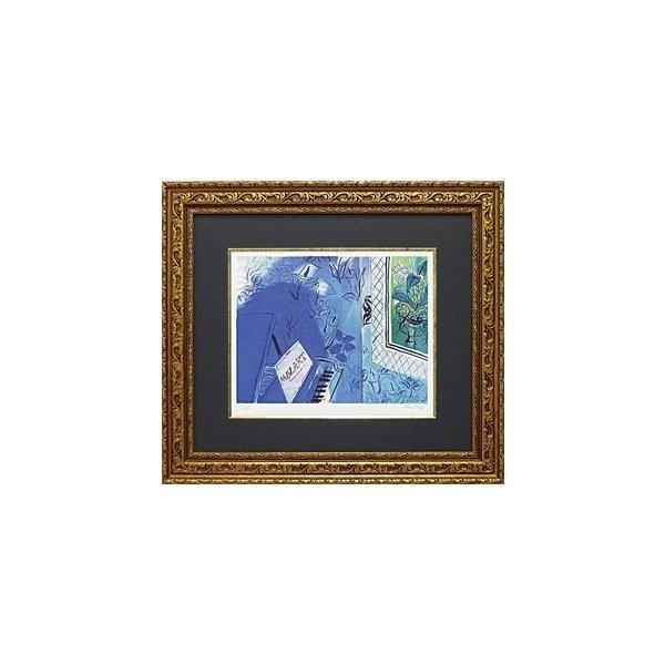 絵画 インテリア アートポスター 壁掛け (額縁 アートフレーム付き) ビッグアート ラウル・デュフィ作 「モーツァルトに捧ぐ」