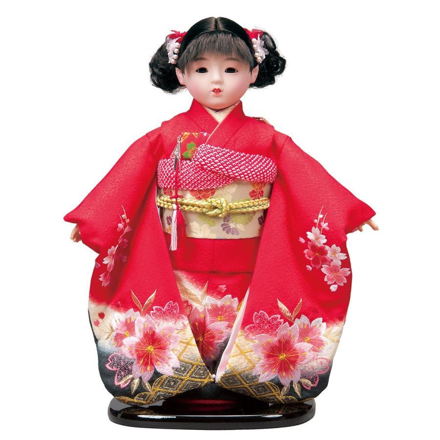 市松人形 13号 正絹刺繍 赤 #1362 高さ46cm