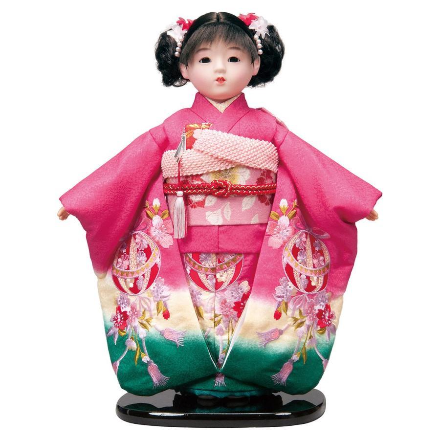 市松人形 13号 正絹刺繍 ピンク #1363 高さ46cm