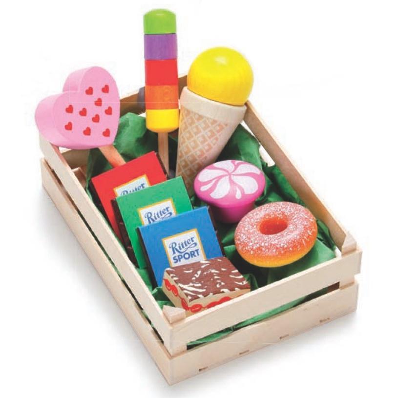 Erzi(エルツィ)木製ままごとセット『木箱入りお菓子屋さんセット(大)』Assorted candies