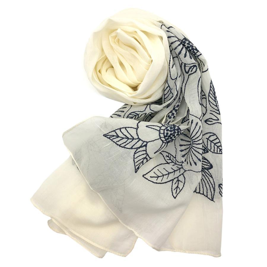 Confiance(コンフィアンス) レディース ストール スカーフ コットン 刺繍 UVケア 乾燥対策 クーラー対策 母の日 プレゼント|toyarts