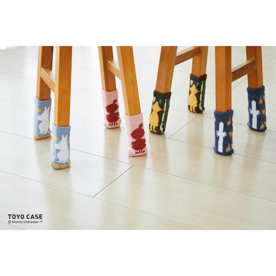 ムーミンシリーズ チェアソックス 1箱同色4本入(椅子1脚分)  ムーミン  リトルミイ  スナフキン ニョロニョロ  北欧 防音 傷防止 コットン イスカバー オシャレ|toyocase-store