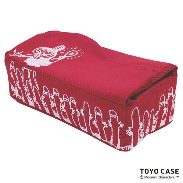 ムーミンシリーズ ティッシュケース リトルミイ ニョロニョロ アイボリー レッド 北欧 ムーミンイラスト コットン 刺繍 オシャレ|toyocase-store|02