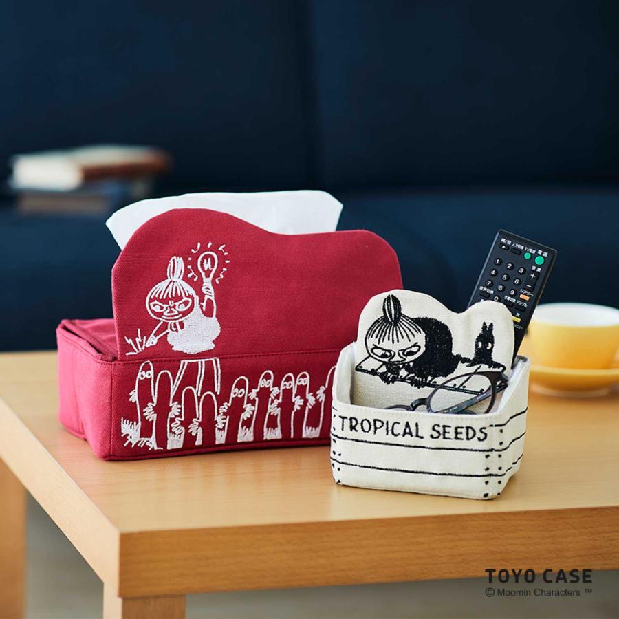 ムーミンシリーズ ティッシュケース リトルミイ ニョロニョロ アイボリー レッド 北欧 ムーミンイラスト コットン 刺繍 オシャレ|toyocase-store|03