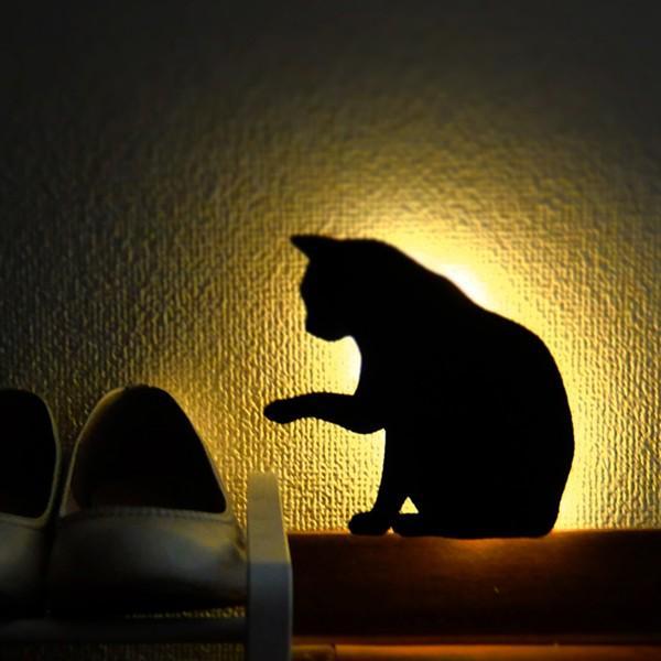 ウォールライト フットライト LEDライト 音感照度センサー 電池式 ネコ キャットウォールライト2 ちょっかい|toyocase-store