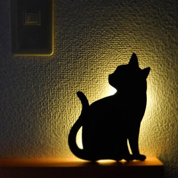 ウォールライト フットライト LEDライト 音感照度センサー 電池式 ネコ キャットウォールライト2 ちら見|toyocase-store