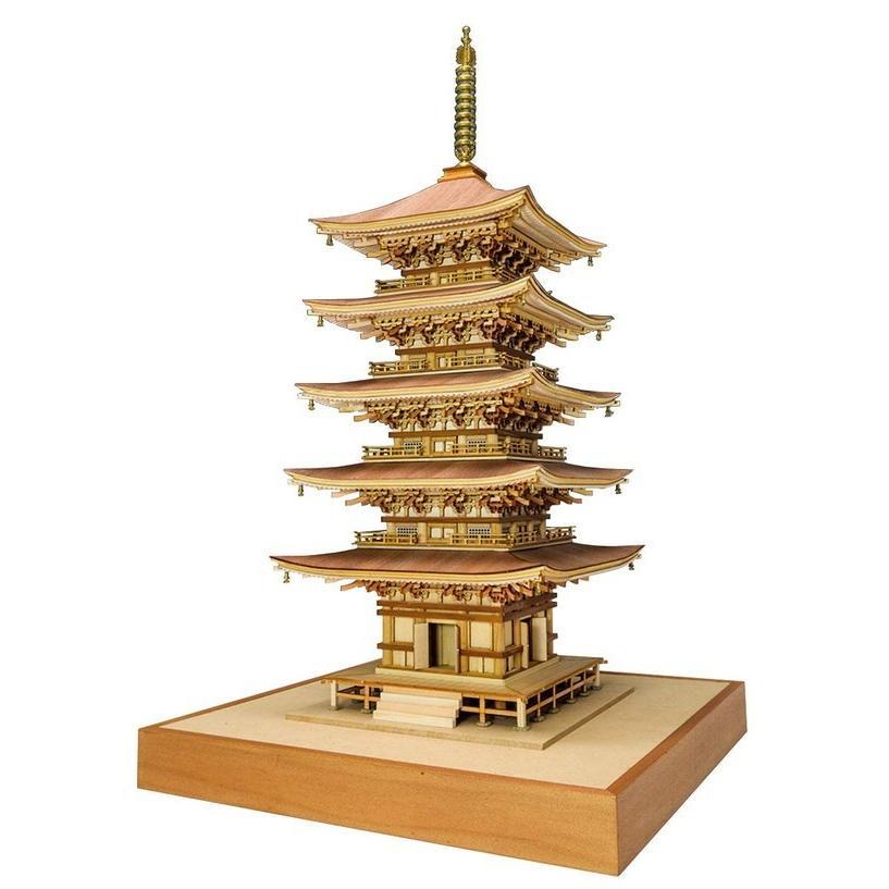 木製建築模型 1/75 羽黒山 五重塔 レーザーカット加工 送料無料