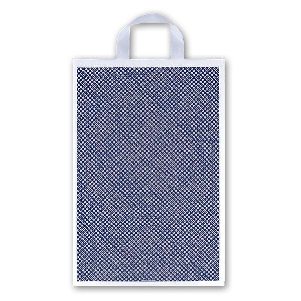 厚み0.055mm/仕上巾320mm/長さ380mm/ガゼット57.5mm福助工業 カルチャーバッグ規格品(Hタイプ) しぼり柄(紺) 小 (500枚)