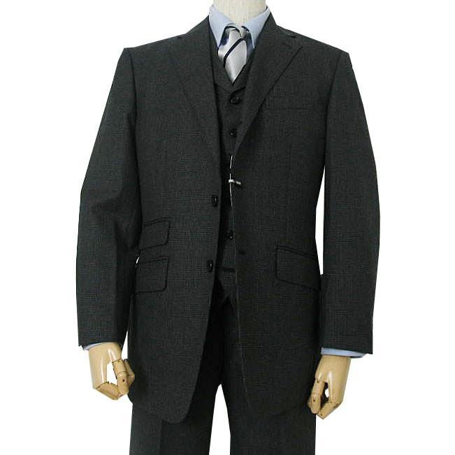 秋冬 スーツ メンズ スリーピース チャコールグレー グレンチェック 段返り3つボタン 0218|tradhousefukiya|02