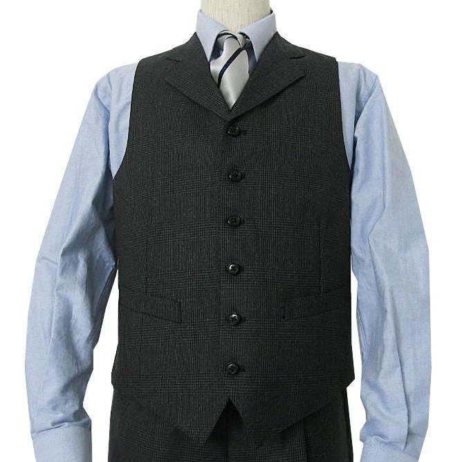 秋冬 スーツ メンズ スリーピース チャコールグレー グレンチェック 段返り3つボタン 0218|tradhousefukiya|04