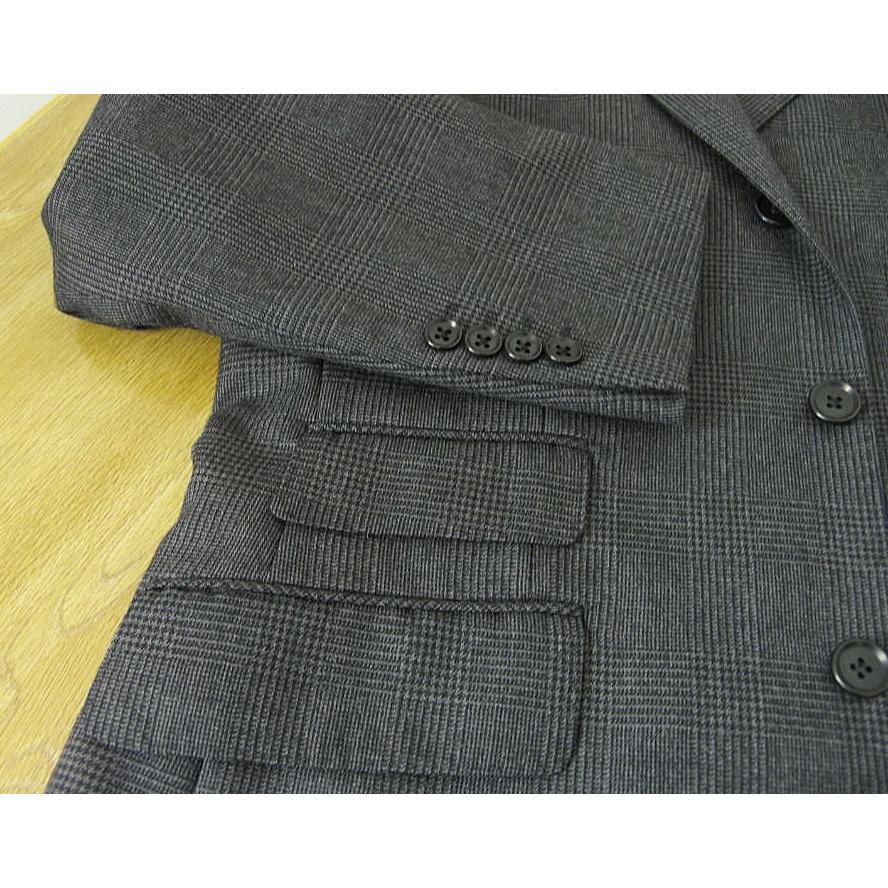秋冬 スーツ メンズ スリーピース チャコールグレー グレンチェック 段返り3つボタン 0218|tradhousefukiya|05