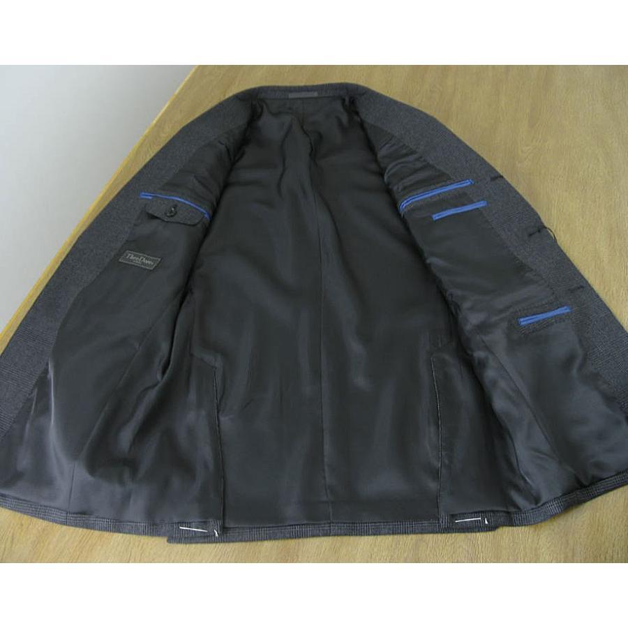 秋冬 スーツ メンズ スリーピース チャコールグレー グレンチェック 段返り3つボタン 0218|tradhousefukiya|06