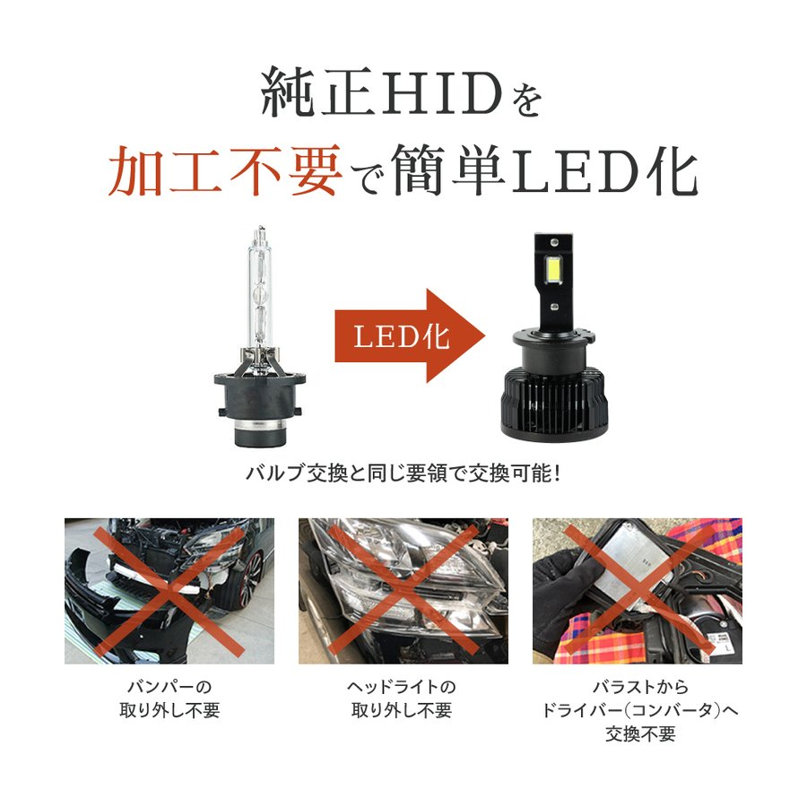 HID屋 LEDヘッドライト D2S D2R D4S D4R 12200lm 6500k ホワイト 35W 2本1セット 車検対応 加工不要 純正HIDを簡単LED化 ドライバー内蔵式 Dシリーズ tradingtrade 04