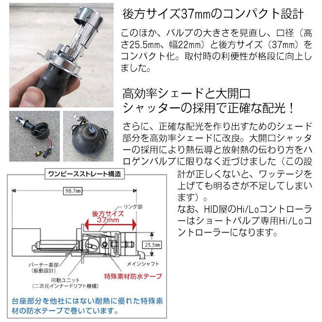 35W HIDキット ショートタイプ H4Hi/Lo リレー付 HIDバルブ 4300k 6000k 8000k ヘッドライト|tradingtrade|11