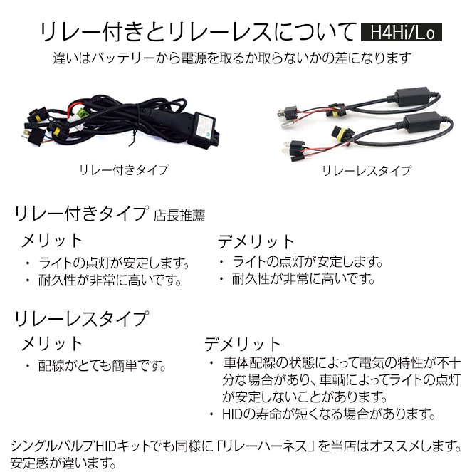HID屋 55W HIDキット スタンダードタイプ H4Hi/Lo リレー付/リレーレス H11 H9 H8 H16 HB4 HB3 H7 H3C H3 H1 バルブ 3000K 4300k 6000k 8000k 12000K|tradingtrade|20