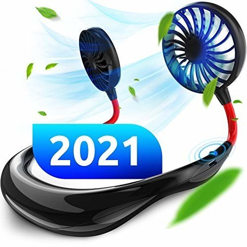 ポータブルハンズフリーファン USB充電式 2000mAh バッテリー スポーツネックファン ネックバンド 360度調節可能|trafstore