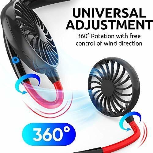 ポータブルハンズフリーファン USB充電式 2000mAh バッテリー スポーツネックファン ネックバンド 360度調節可能|trafstore|04