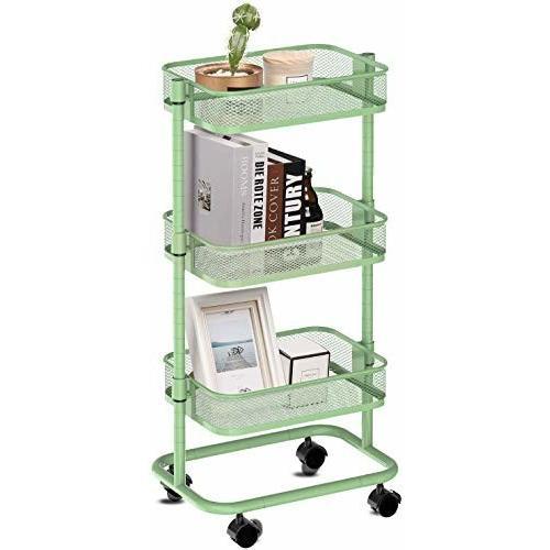 LeHom 高さ調節 キッチンワゴン 軽量 組み立て簡単 ワゴン 収納ラック キャスターワゴン (緑)|trafstore