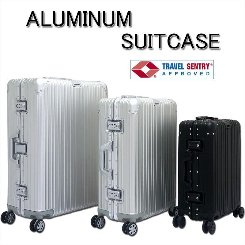 アルミニウム製スーツケース 色シルバー Lサイズ 89L 28インチ 日本製ダブルキャスター TSAロック採用 キャリーケース 旅行かばん
