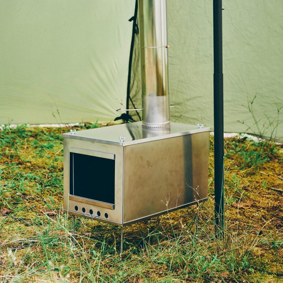 薪ストーブ ポータブルチタンストーブ Lサイズ サイドプレート付き Portable Titanium Wood Stove Seek Outside trente-trois 09