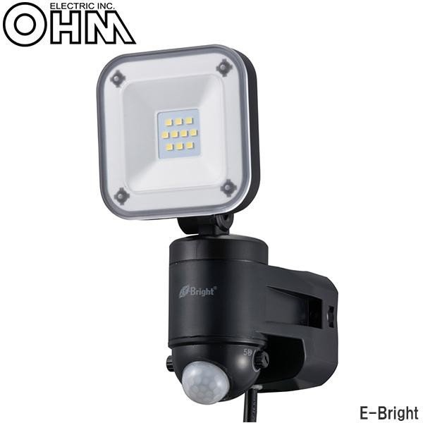 オーム電機 OHM E-Bright AC100V電源8W×1灯 LEDセンサーライト LS-A185B-K 代引き不可
