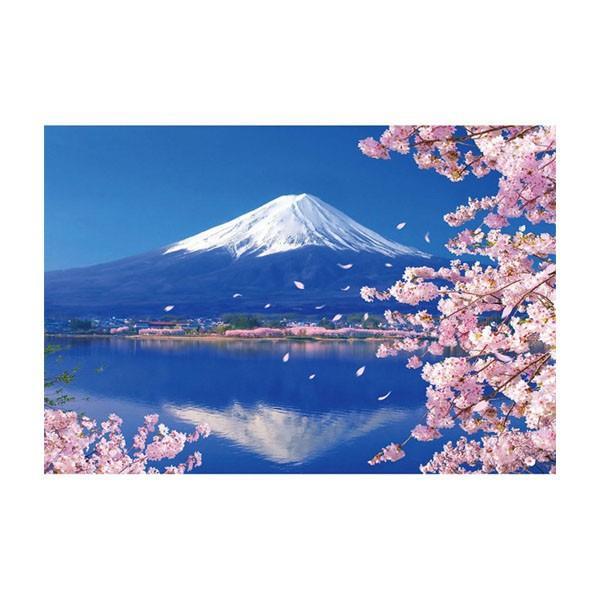 ジグソーパズル 1000ピース 風景 富士と桜咲く湖畔 51-235 代引き不可