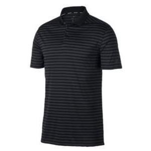 ナイキ メンズ ポロシャツ Nike Dri-Fit Victory Stripe Golf Polo ゴルフ ロゴ 半袖 黒/Anthracite/銀