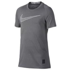 ナイキ ボーイズ/キッズ/レディース Tシャツ Nike Pro Cool Short Sleeve Top 半袖 ロゴ プリント 小学生 ミニバス Carbon Heather