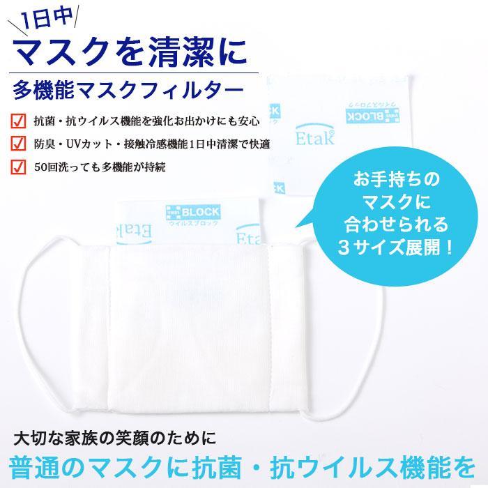 マスクフィルター イータック 日本製 抗ウイルス 大人用 子ども用  50日用 3枚入り|trustkagaku-store|02