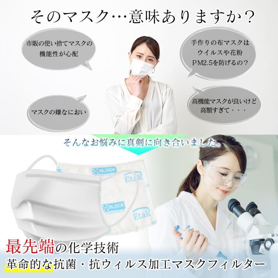 マスクフィルター イータック 日本製 抗ウイルス 大人用 子ども用  50日用 3枚入り|trustkagaku-store|04