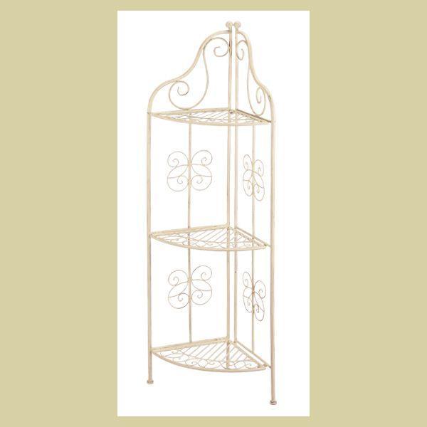 『ワイヤー』3段コーナースタンド/アイボリー