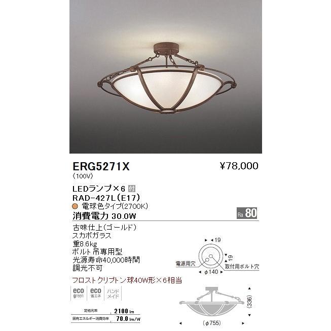 遠藤照明 照明器具 照明器具 LEDシーリングライト フロストクリプトン球40W形×6相当 ERG-5271X