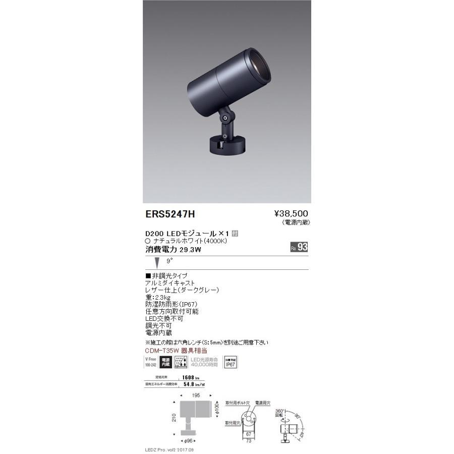 遠藤照明 施設照明 LEDアウトドアスポットライト DUAL-Mシリーズ D200 CDM-T35W相当 非調光 狭角配光9° ナチュラルホワイト ERS5247H