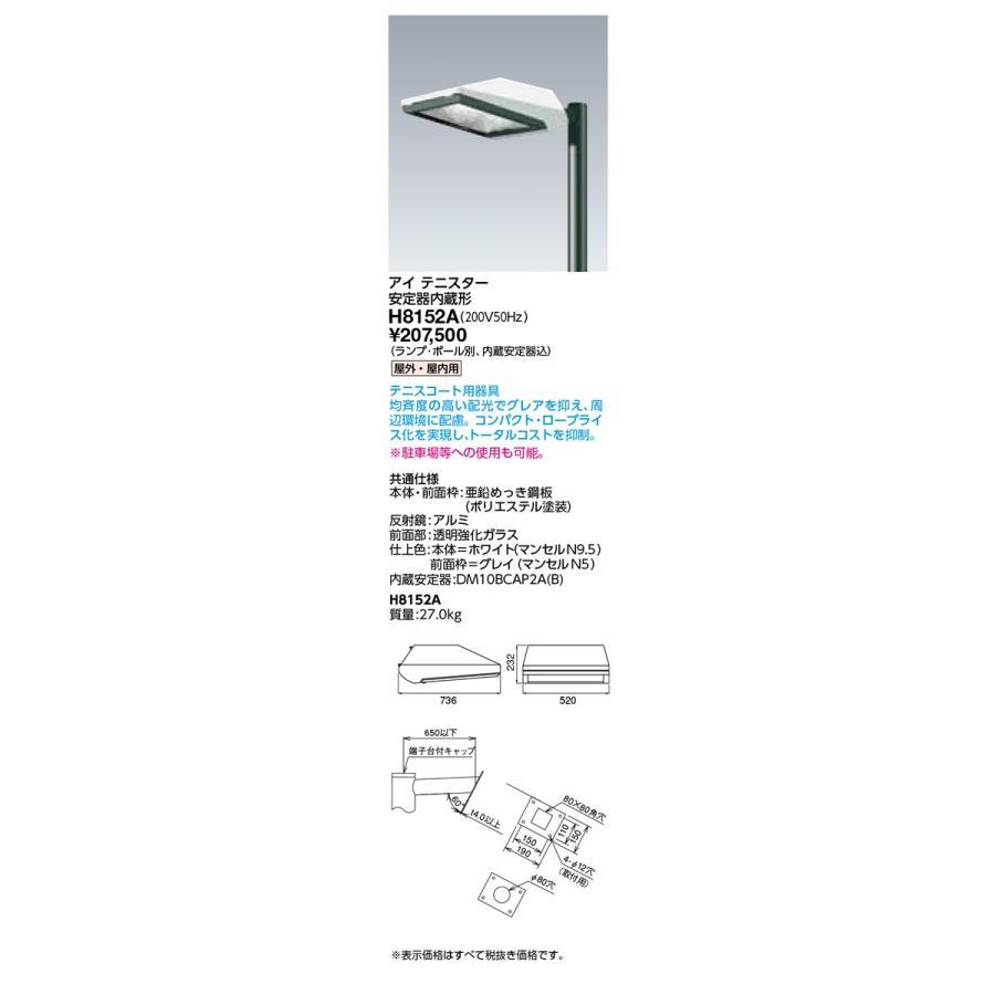 岩崎電気 施設照明 HIDランプ下方向形投光器 アイ テニスター 安定器内蔵形 200V50Hz H8152A