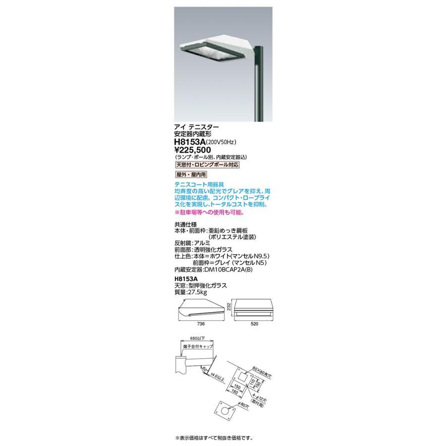 岩崎電気 施設照明 HIDランプ下方向形投光器 アイ テニスター 安定器内蔵形 200V50Hz H8153A