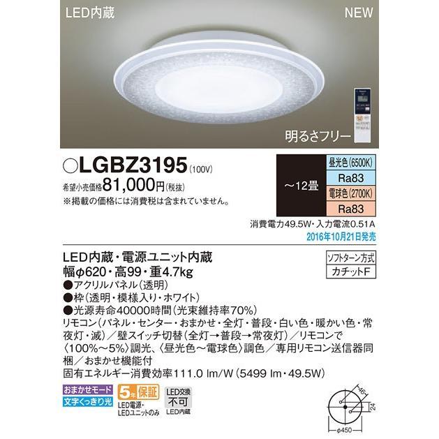 Panasonic 照明器具 LEDシーリングライト パネルシリーズ AIR PANEL LED リモコン調光・調色 クリスタル LGBZ3195 LGBZ3195 LGBZ3195 【〜12畳】 fa4