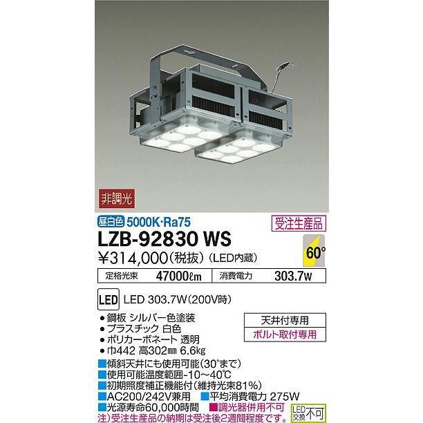 大光電機 施設照明 LEDベースライト パワーシーリング メタルハライドランプ1kW相当 電源内蔵 60°広角形 昼白色 LZB-92830WS