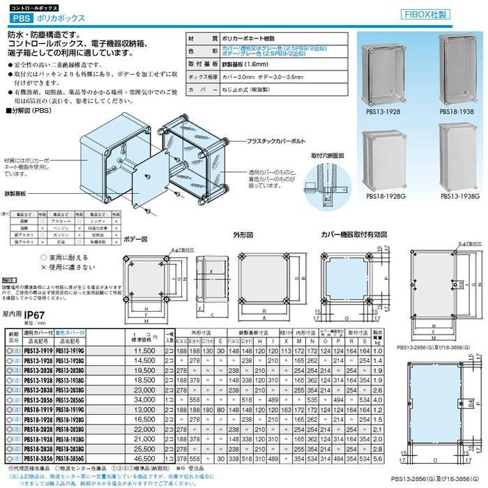 日東工業 プラボックス コントロールボックス ポリカボックス 屋内用 透明カバー付 PBS13-2828