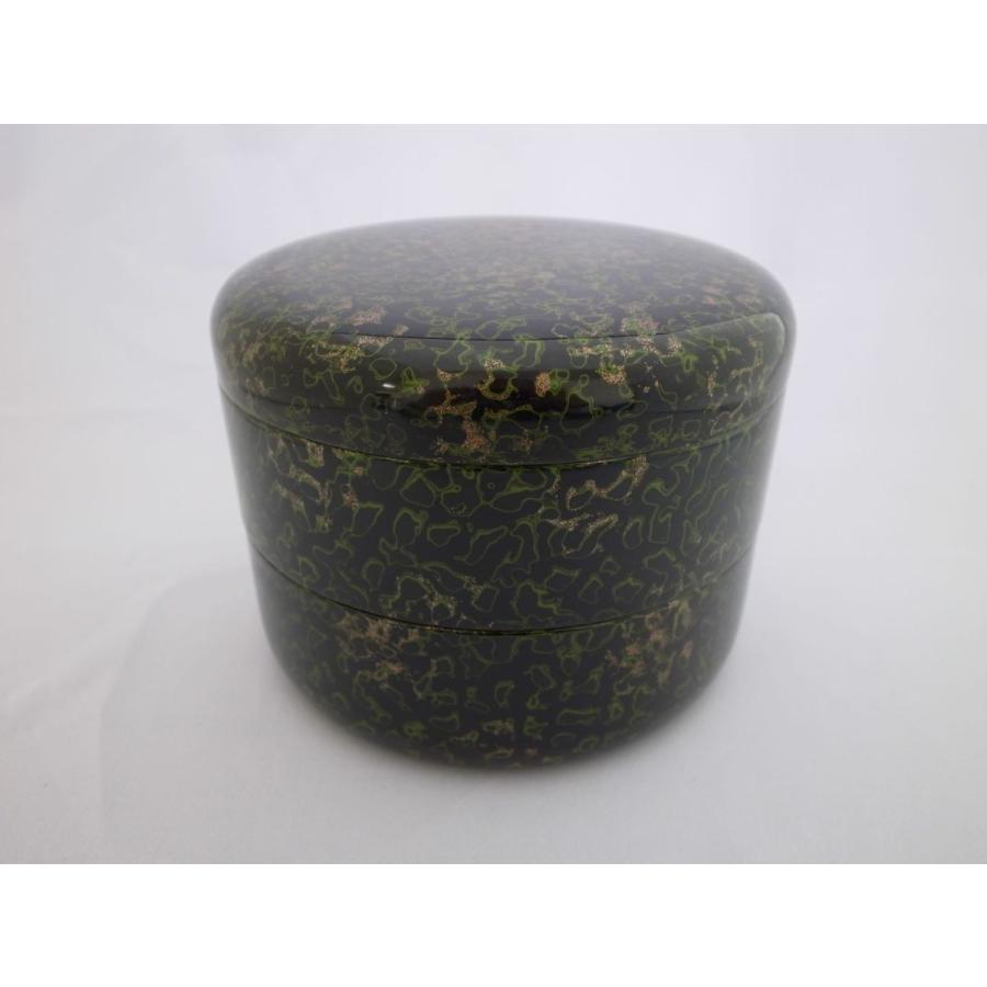 丸二段重 木粉 唐塗梨子地黒上|tsugaru-ishioka