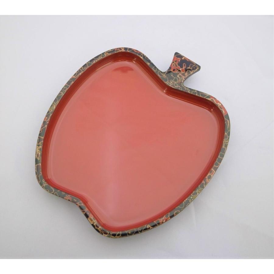 りんご小皿 唐塗呂上|tsugaru-ishioka