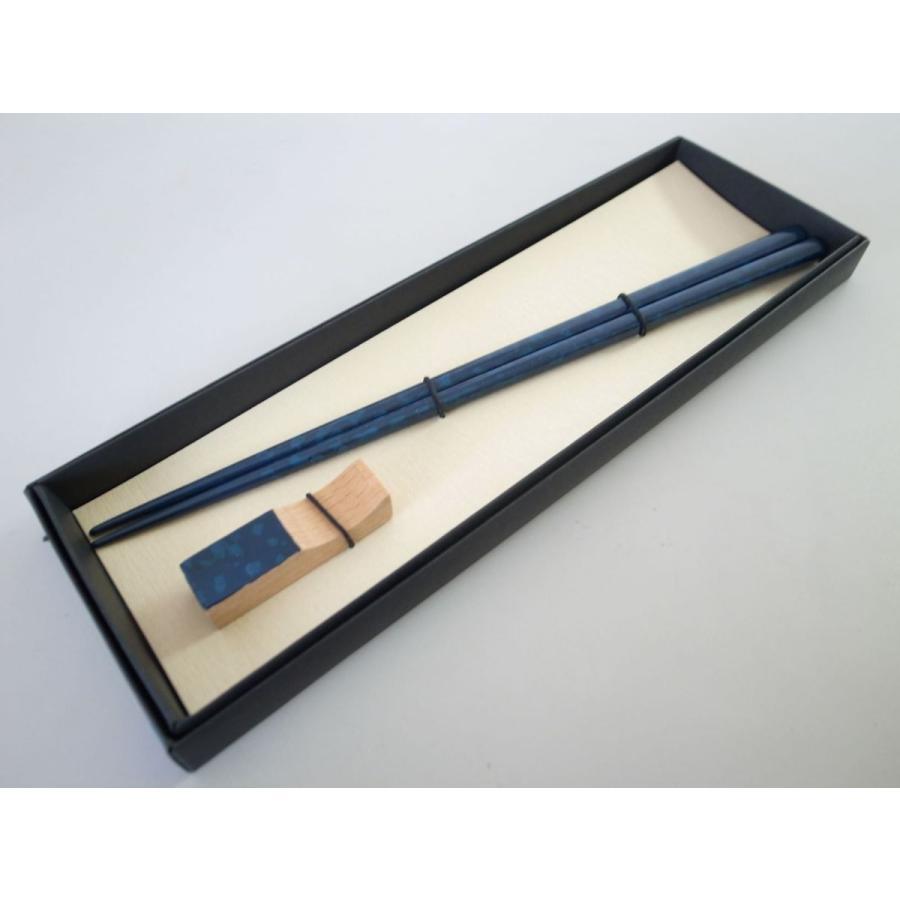 細箸・箸置きセット 迷彩塗ブルー|tsugaru-ishioka
