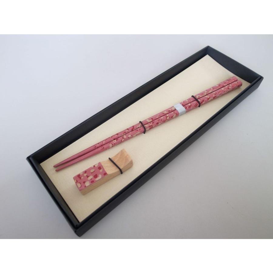 細箸・箸置きセット 迷彩塗ピンク|tsugaru-ishioka
