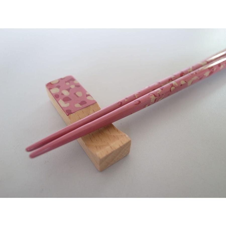 細箸・箸置きセット 迷彩塗ピンク|tsugaru-ishioka|02