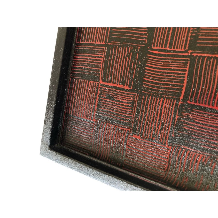 【津軽モダン】 角盆 300 紋紗(櫛目)|tsugaru-ishioka|02