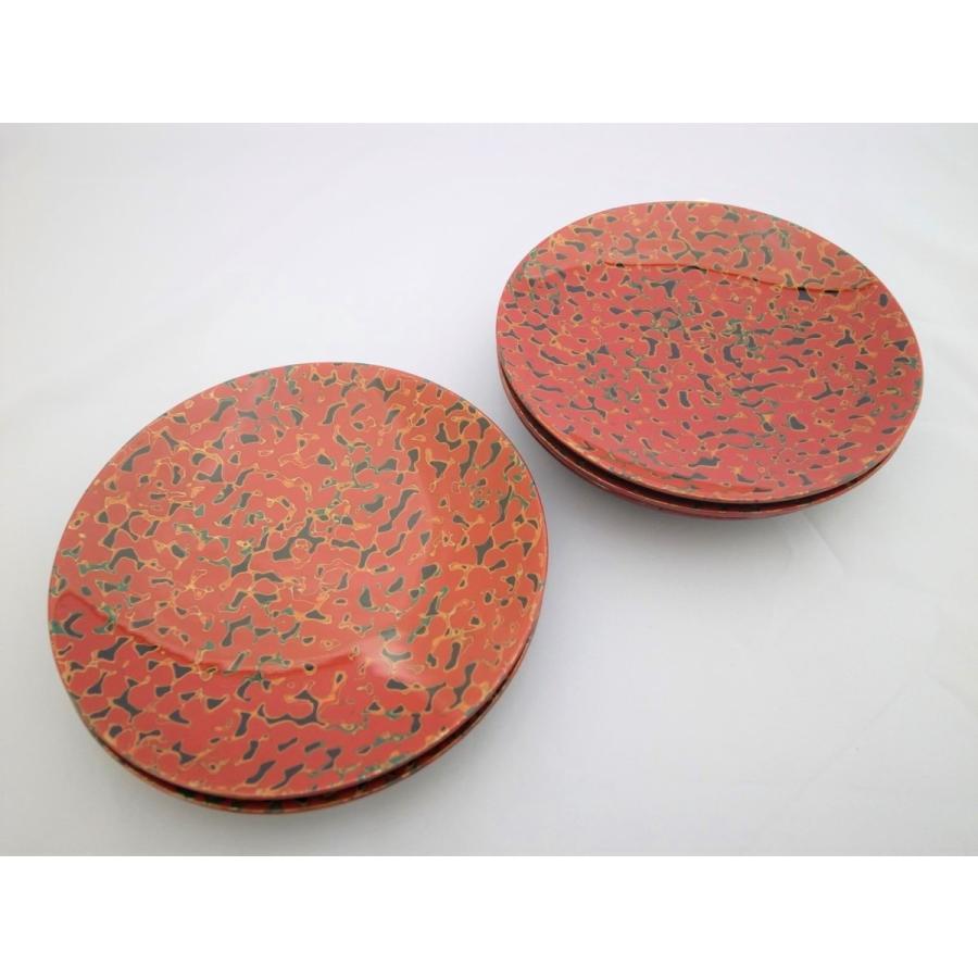 丸銘々皿 5枚入 木製 5寸 唐塗赤上|tsugaru-ishioka