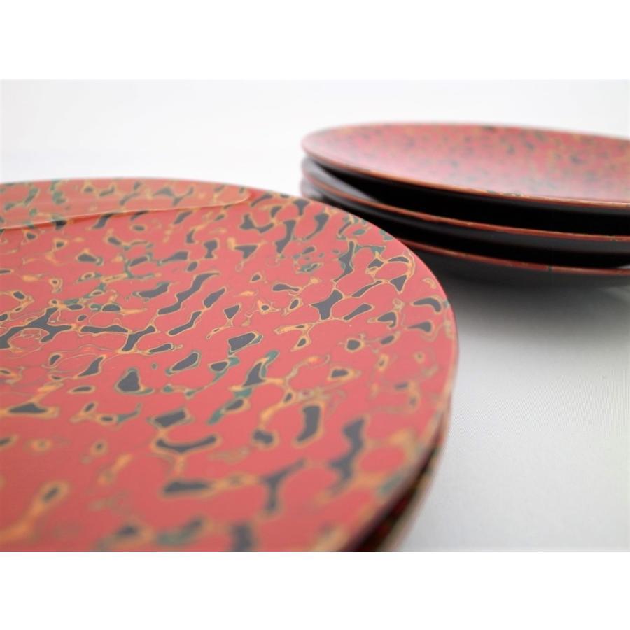 丸銘々皿 5枚入 木製 5寸 唐塗赤上|tsugaru-ishioka|02