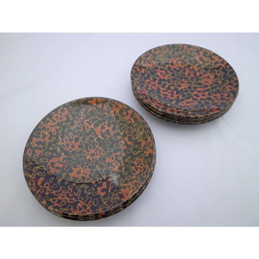 丸銘々皿 5枚入 木製 4.5寸 唐塗呂上|tsugaru-ishioka