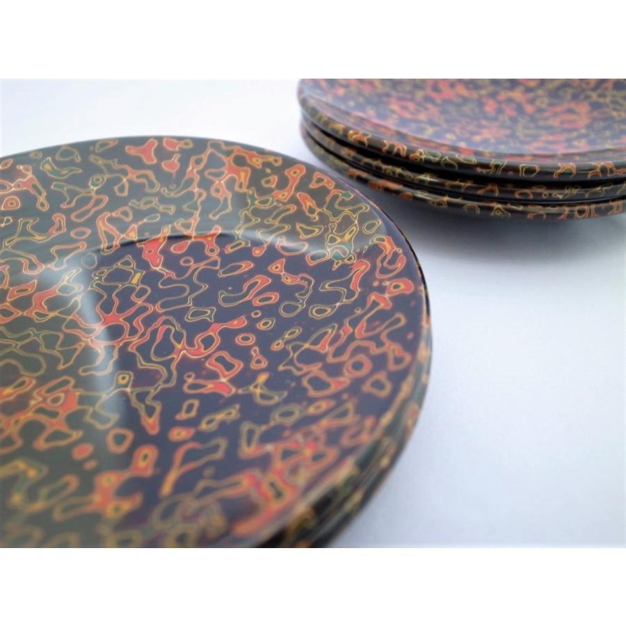 丸銘々皿 5枚入 木製 4.5寸 唐塗呂上|tsugaru-ishioka|02
